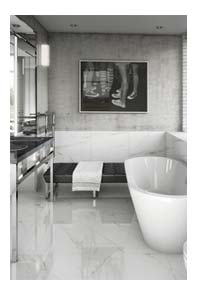 white bathroom with white gloss floor tiles