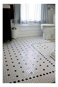 black and white mosaic bathroom tiled floor